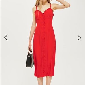 Topshop Ruffle Midi Dress in Red